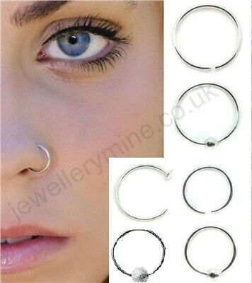 Sterling Silver Nose Ring Hoop 8mm 10mm Small Thin Piercing Stud Body Jewellery 1 75 Picclick Uk