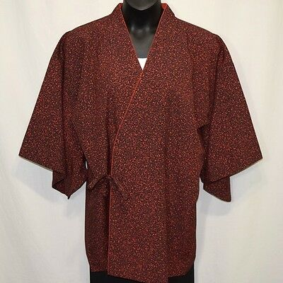 """Vintage Japanese Kimono Dochugi XL Jacket Woman's Silk Cover Up """"Red and Black"""""""