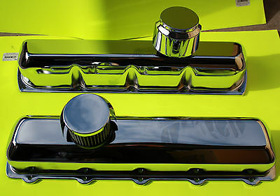Oldsmobile Tall Chrome Baffled Valve Covers With Push-In Breathers