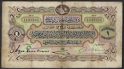 Turkey P-68 1322 (1914) 1 Livre VF scarcer issued note