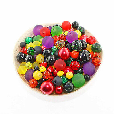 BMX027 Glass Bead Mix Assorted 100 Black Color Combination 6mm to 12mm