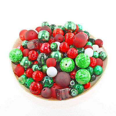 Glass Bead Mix Assorted 100 Christmas Color Combination 6mm to 12mm - BMX046