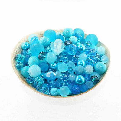 Glass Bead Mix Assorted 100 Turquoise Color Combination 6mm to 12mm - BMX035