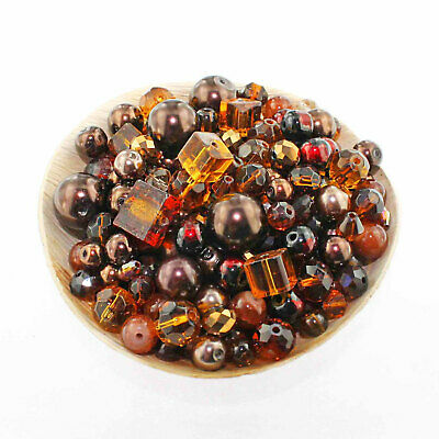 Glass Bead Mix Assorted 25 Brown Color Combination 6mm to 12mm - BMX010