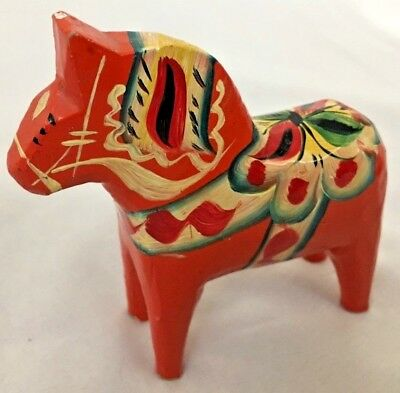 "Orange 4"" Swedish Niles Olsson Painted Wood DALA Horse with Tag"