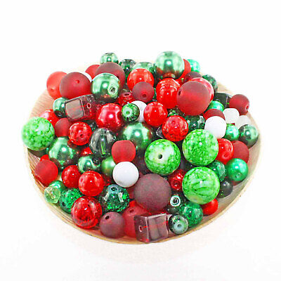 Glass Bead Mix Assorted 25 Christmas Color Combination 6mm to 12mm - BMX022