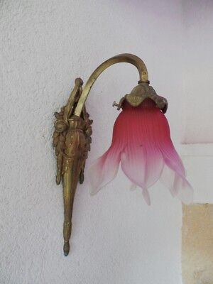 Antique French Bronze Sconce With Petals Cranberry  Shade