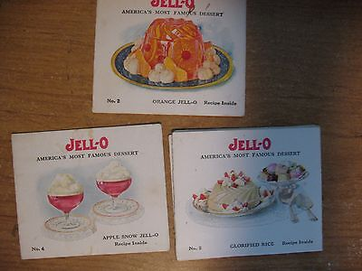3 Different JELLO The Easy JELL-O Way Recipes Foldout Advertising Inserts 1920'S