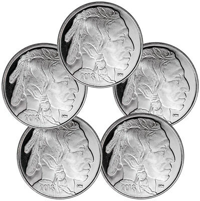 Lot of 5 - 2018 Highland Mint Buffalo Nickel Design 1 oz Silver Round SKU50336