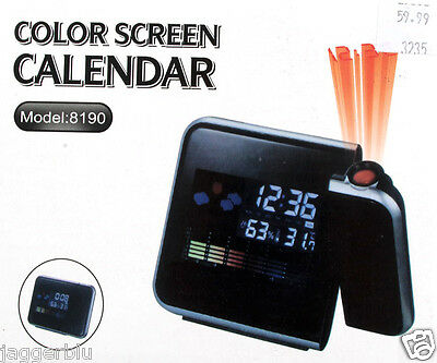 Digital Lcd Colour Screen Weatherstation Calendar Alarm Clock Time Projector.w@w