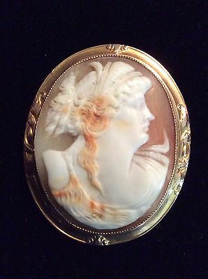 VICTORIAN CAMEO Of A ROMAN STYLE LADY SET ON 10 KT GOLD HAND MADE FRAME