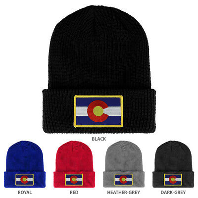 349e41fcc57 Colorado State Flag Embroidered Patch Winter Ribbed Cuffed Knit Beanie