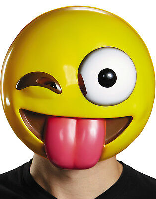 Winking Tongue Out Emoticon Yellow Crazy Texting Emoji Adult Costume Mask
