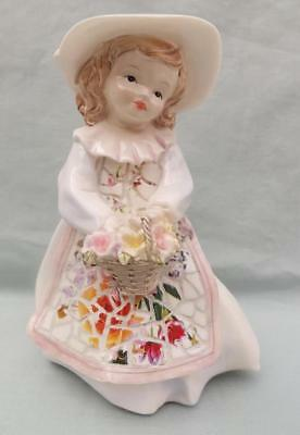 MOSIAC GIRL STATUE FIGURINE BASKET OF FLOWERS PORCELAIN Wonderful Gift New A