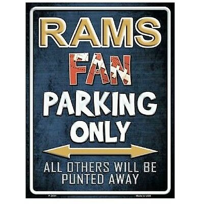 "Los Angeles Rams Fan Parking Only Novelty Metal Parking Sign 9"" x 12"""