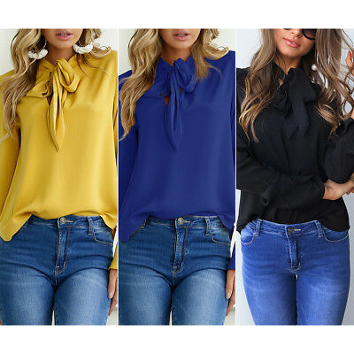 US Women's Ladies Fashion Casual Long Sleeve Tops Blouse T-Shirt for Summer Fall