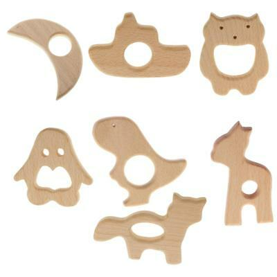 7pcs Assorted Shape Wooden Teether Baby Teething Toy Ring Necklace DIY Craft