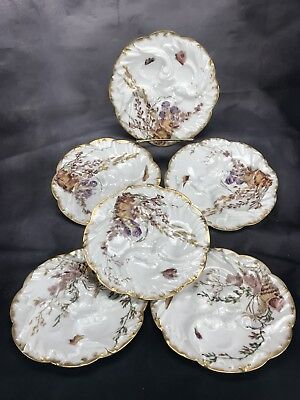 "(6) Chas Field Haviland Limoges Hand Painted Wave Mold ""Sea Life"" Oyster Plates"