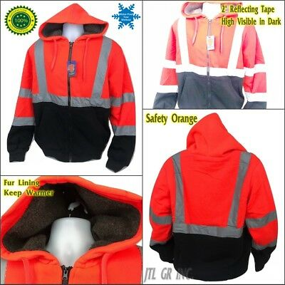 High Visible Safety Hoodie Jacket Winter Fur Lining Warm Insulation - Orange