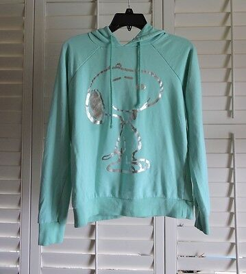 Forever 21 Peanuts Snoopy Teal Hoodie size small sweater