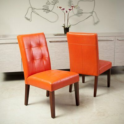 Modern Dining Chair in Vintage Tufted Bright Orange Leather Furniture Set of 2