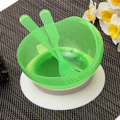 3pcs Non Spill Baby Feeding Tableware Set Toddler Suction Cup Bowl Spoon Forks