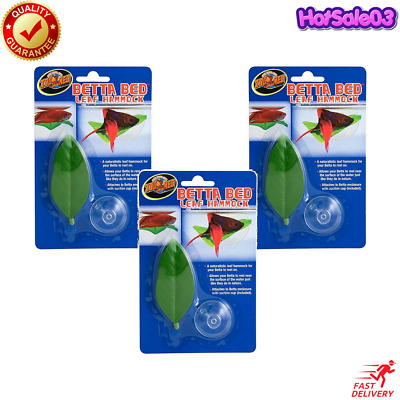 3 Pack Betta Bed Natural Leaf Hammock Fish Resting Suction Cups Sleep Zoo Med