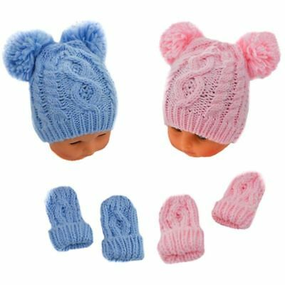 Baby girl boy pink blue double pom pom knitted hat mittens 0-3-6-12 month winter