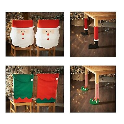 Christmas Decoration Elf Santa Chair Cover Leg Covers Table Xmas Decor NEW