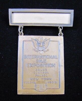 Orig 1923 INTERNATIONAL SILK EXPOSITION Medallion GRAND CENTRAL PALACE NY W&H