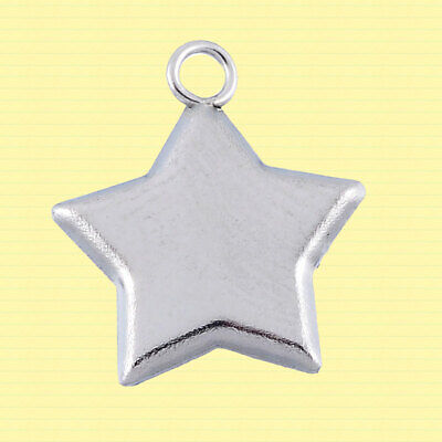 Concave Silver Tone Flowers MT235 10 Stainless Steel Pendants