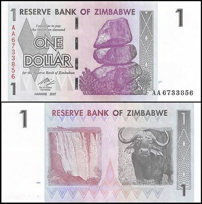 Zimbabwe 1 Dollar, 2007,P-65 Uncirculated (10 20 50 100 Trillion)BILLION,MILLION