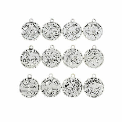 Zodiac Charms Antique Silver Tone Set of 12 Double Sided - SC7002