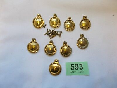 job Lot Antique Vintage Brass  Key Hole Covers Escutcheons 593