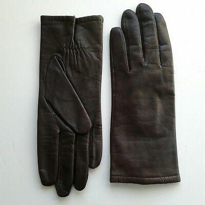 Vintage Brown LEATHER Women's Lined Driving Gloves SIZE 7 1/2