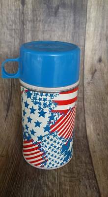 Vintage USA FLAG Theme Lunchbox Metal Thermos ONLY  (King Seeley) STARS STRIPES