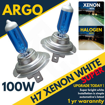 H7 100w 8500k Xenon Hid Super White Effect Look Headlight Lamps Light Bulbs 12v