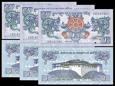 Bhutan 1 NGULTRUM 2006 P 27 UNC LOT X 3 PCS
