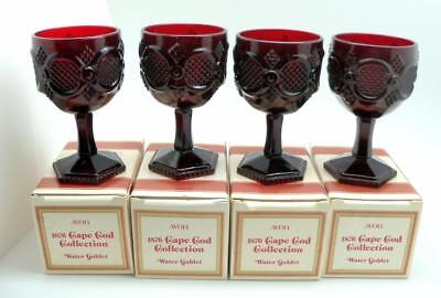 4 Avon Cape Cod Water Wine Goblets  Stems Glasses Never Used In Box 5 3/4 inches