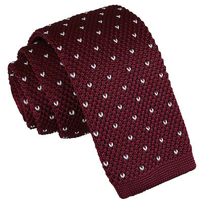 DQT Knit Knitted Flecked V Dot Burgundy Casual Mens Skinny Tie