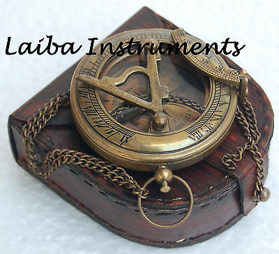 'old Antique Brass Sundial Compass Vintage Push Button Sundial Compass Gift