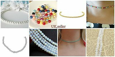 4mm Seed Beads pearls turquoise crystal charm pendant choker collar necklace UK