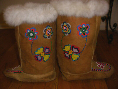 Vintage Beaded flowers Native Canadian ? boots