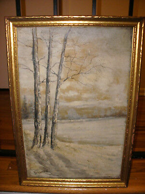 Nice antique oil on canvas painting winter landscape signed mystery artist