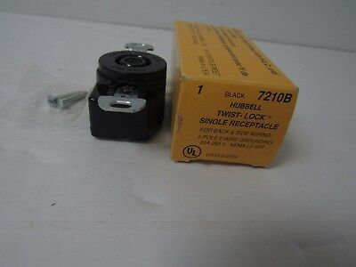 Hubbell 7210B Twist-Lock Single Receptacle 2 Pole 2 Wire Grounding 20A 250V