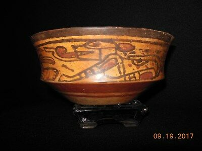 MAYAN POLYCHROME BOWL VESSEL with 2 HIGHEST PRIEST + 2 DOG GODS