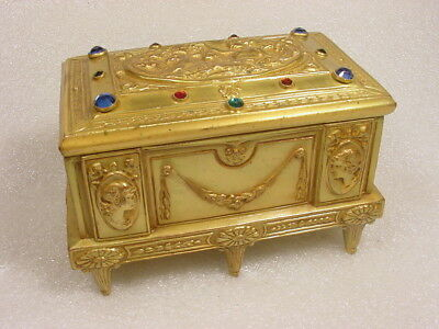 ANTIQUE ART NOUVEAU GODDESS JEWELED GILT ORMOLU CASKET BOX~Weidlich 674~Vauxhall