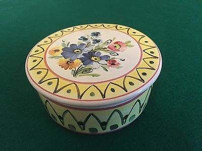 Danish Studio Art Pottery ILLONA DENMARK LIDDED PIN BOX 3 Inch 1940 Collectible