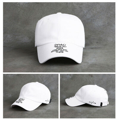 Unisex Mens 2Pac Flipper Thug Life Out Law Baseball Cap Hiphop Casual Hats White