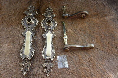 Solid old brass door handle with decorative covers project replacement new 11B